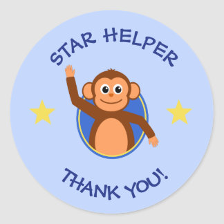 Thank you teachers helper monkey blue classic round sticker