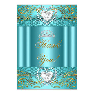Thank You Teal Blue Gold Quinceanera Invite