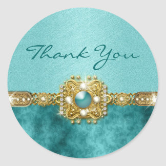 """""""Thank you"""" teal gold Round Sticker"""