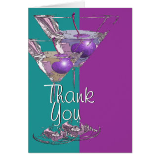 """""""Thank you"""" teal purple martini cocktail Card"""