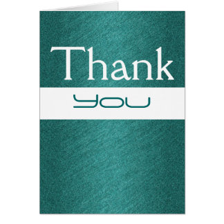 """thank you"" teal white birthday wedding greeting card"