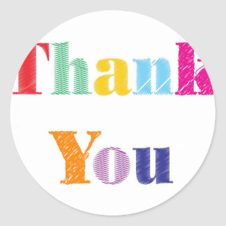 Thank You Text Classic Round Sticker