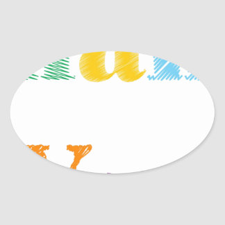 Thank You Text Oval Sticker