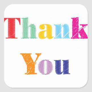 Thank You Text Square Sticker