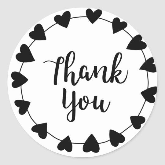 THANK YOU, Thank you card Classic Round Sticker