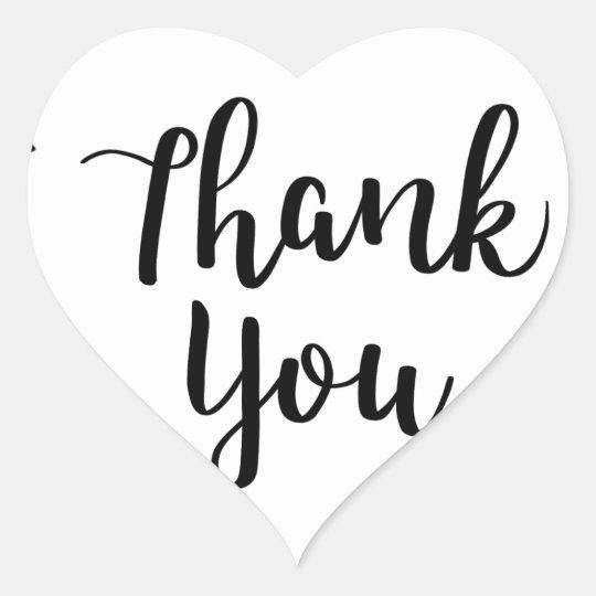 THANK YOU, Thank you card Heart Sticker