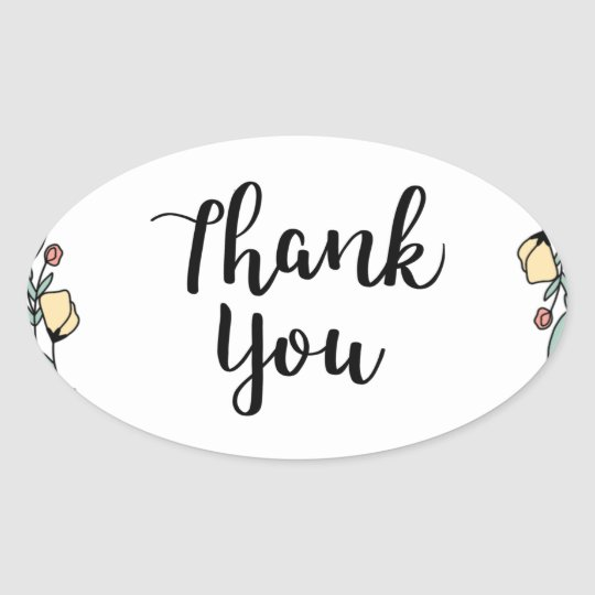 THANK YOU! Thank you card Oval Sticker