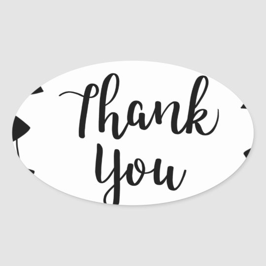 THANK YOU, Thank you card Oval Sticker