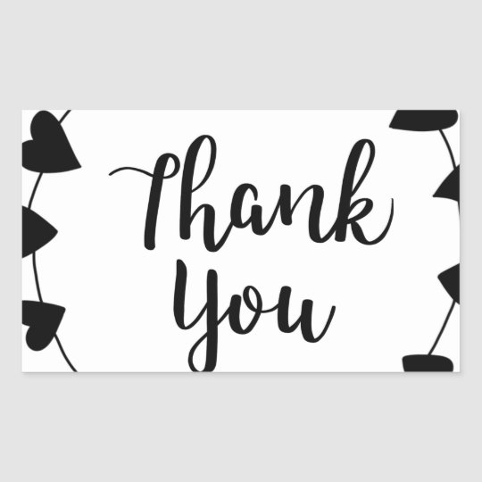 THANK YOU, Thank you card Rectangular Sticker
