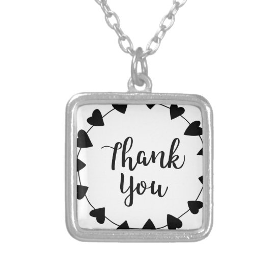 THANK YOU, Thank you card Silver Plated Necklace