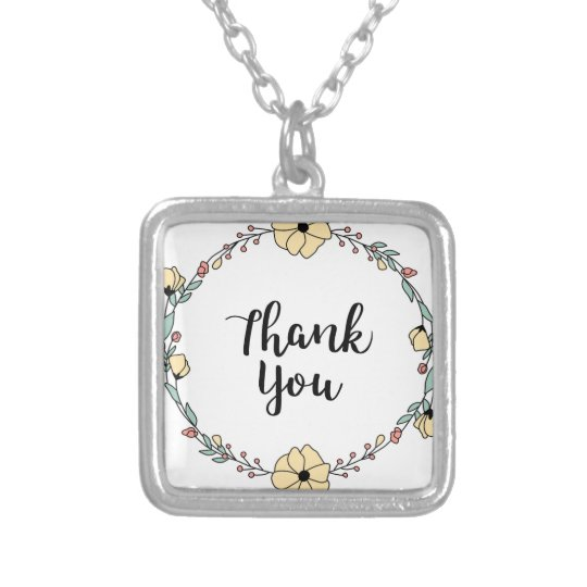 THANK YOU! Thank you card Silver Plated Necklace