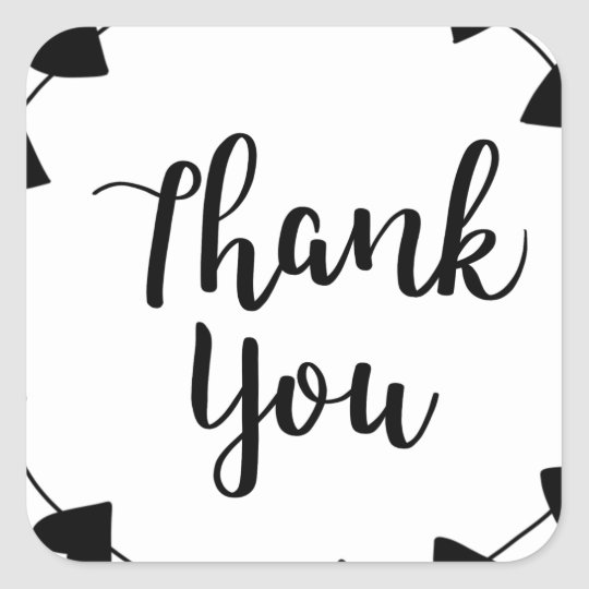 THANK YOU, Thank you card Square Sticker