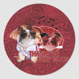 Thank You - Thank You Very Much - Chihuahua -Gizmo Round Stickers