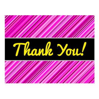 """Thank You!"" + Thin Pink & Magenta Lines Pattern Postcard"