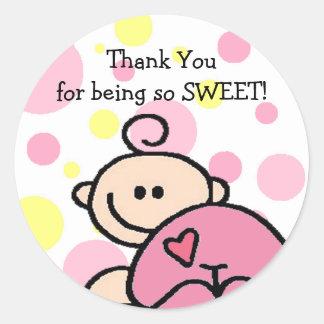 Thank You Tickled Pink Girl Round Sticker
