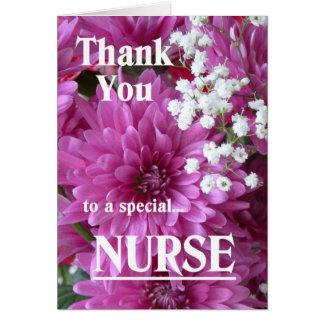 Thank You to a special Nurse-Pink Floral Card