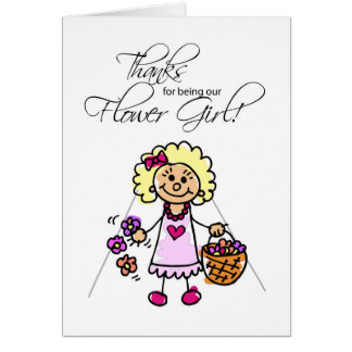 Thank You to Flower Girl, Blonde Pink Dress Card