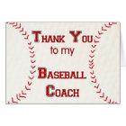 Thank You to my Baseball Coach Card