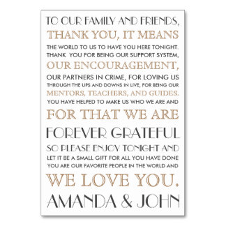 Thank you to wedding guests table card