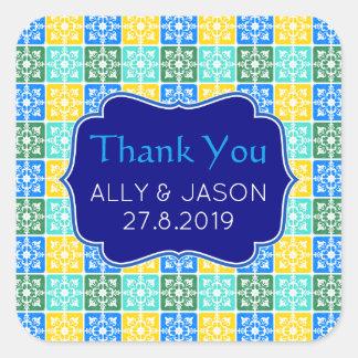 Thank You Trendy Resort Fashion Mediterranean Tile Square Sticker