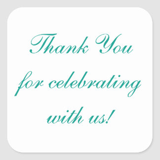 Thank you Turquoise Celebration Stickers