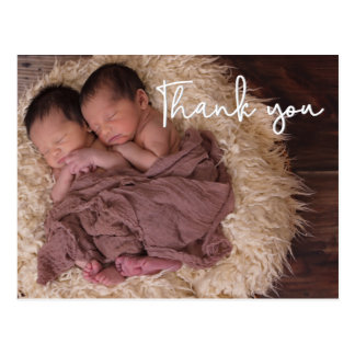 Thank You , Twin Birth Announcement, Script text Postcard