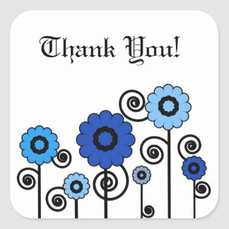 Thank You, two toned blue flowers & swirls Square Sticker