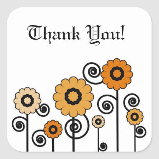 Thank You, two toned orange flowers & swirls Square Sticker