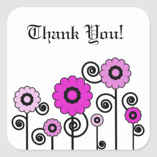 Thank You, two toned, pink flowers & swirls Square Sticker