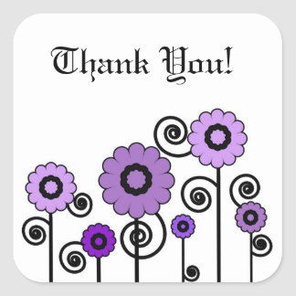 Thank You, two toned purple flowers & swirls Square Sticker