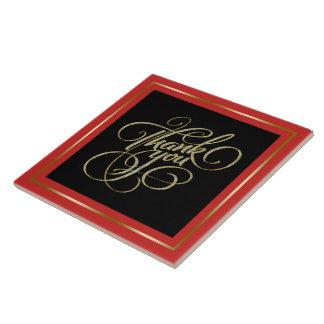 Thank You Typography Black & Red Frame Ceramic Tile