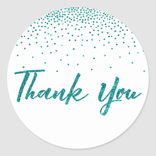 Thank You Typography w/ Teal Glitter Confetti Classic Round Sticker