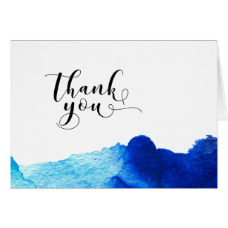 Thank You Typography Wedding Blue Watercolor 2 Card