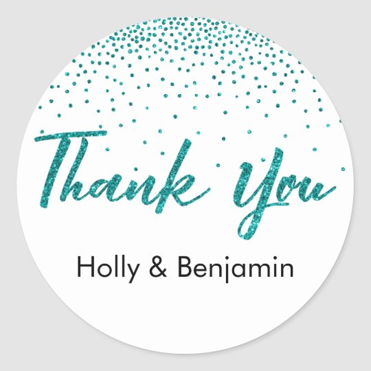 Thank You Typography with Teal Glitter Confetti Classic Round Sticker