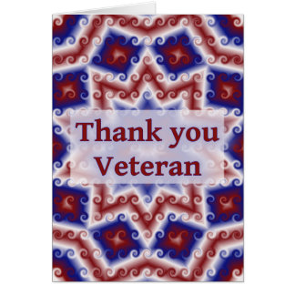 Thank You Veteran, Red White Blue Abstract Card