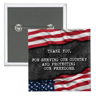 Thank you veterans. 15 cm square badge