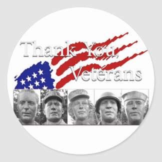 Thank You Veterans Classic Round Sticker