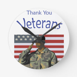 Thank You Veterans Round Clock