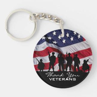 Thank You Veterans Single-Sided Round Acrylic Key Ring