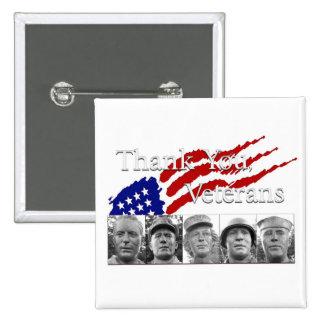 Thank You Veterans square Pinback Button