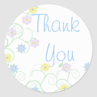 Thank you vine with blooms classic round sticker