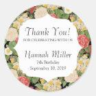Thank You Vintage Chic Botanical Floral Birthday Classic Round Sticker