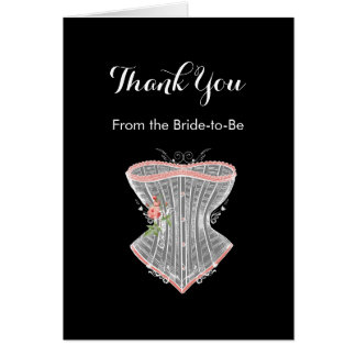 Thank You Vintage Corset Personal Bridal Shower Note Card