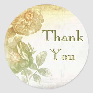 thank you vintage floral stickers