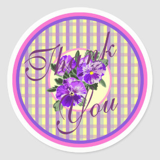 Thank You Vintage Pansy Stickers