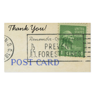 Thank You Vintage Postage Paper Stamp Pack Of Standard Business Cards