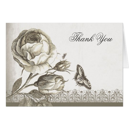 thank you vintage rose elegant cards
