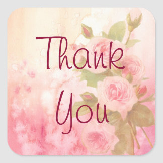 Thank You Vintage Rustic Rose Sticker