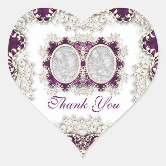 """thank you"" vintage wedding purple stickers"