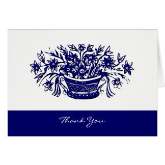 Thank You Vintage Woodcut Flower Basket Cards